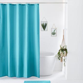 rideau de douche bleu